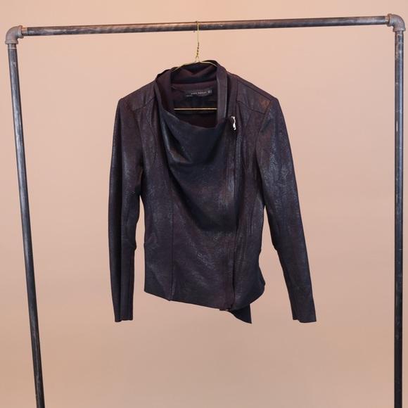 bfd324f4c Zara Woman Faux Sues Moto Jacket Small